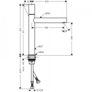 Dane techniczne armatury Axor Uno 200 45003930-image_Axor_45003930_2