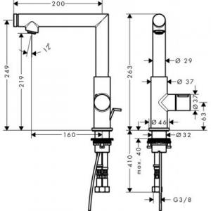 Rysunek techniczny armatury łazienkowej Axor Uno 45016000-image_Axor_45016000_2