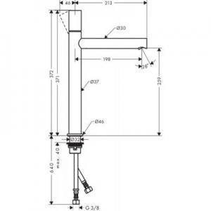 Rysunek techniczny baterii Axor Uno 45004000-image_Axor_45004000_2