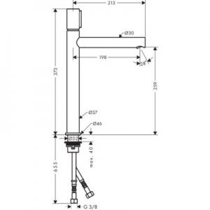 Rysunek techniczny baterii Axor Uno 260 45014000-image_Axor_45014000_2