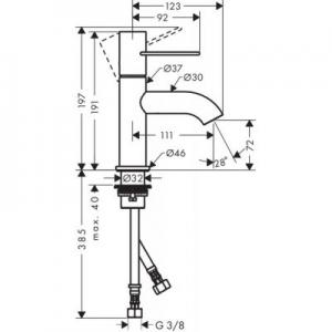 Rysunek techniczny baterii Axor Uno 70 38021930-image_Axor_38021930_2