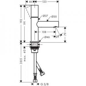 Rysunek z wymiarami baterii Axor Uno 45005930-image_Axor_45005930_2