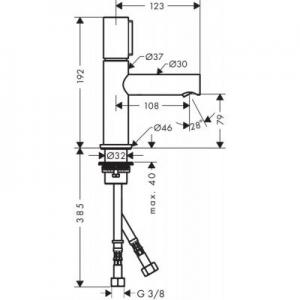 Wymiary techniczne baterii umywalkowej Axor Uno 45015820-image_Axor_45015820_2