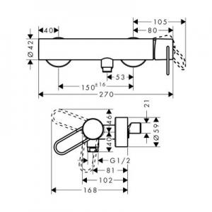 Rysunek techniczny baterii prysznicowej Axor Uno 38621000-image_Axor_38621000_2