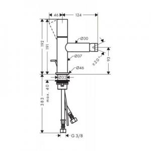 Wymiary techniczne kranu Axor Uno 45200820-image_Axor_45200820_2