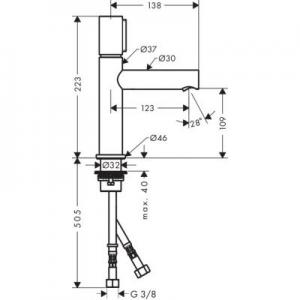 Wymiary techniczne baterii Axor Uno 45012000-image_Axor_45012000_2