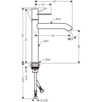 Rysunek techniczny baterii Uno 38032000-image_Hansgrohe_38032000_2
