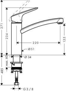 Wymiary techniczne baterii podokiennej Hangrohe Logis 71833000-image_Hansgrohe_71833000_3
