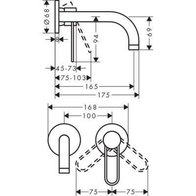 Wymiary techniczne baterii umywalkowej Uno 38121000-image_Hansgrohe_38121000_2