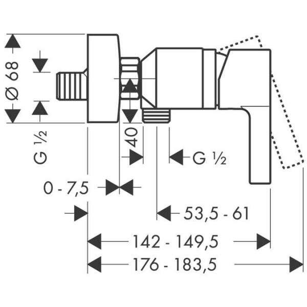 Wymiary techniczne baterii prysznicowej Metris S 31660000-image_Hansgrohe_31660000_3
