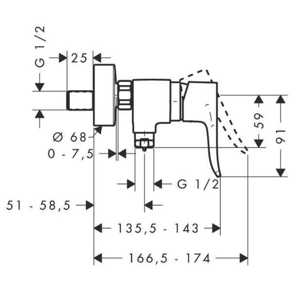 Wymiary techniczne baterii prysznicowej Hansgrohe Metris E2 31680000-image_Hansgrohe_31680000_3
