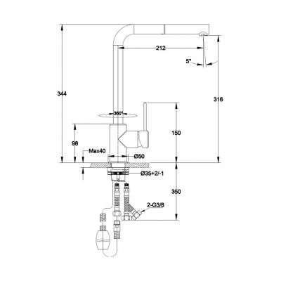 Wymiary techniczne baterii kuchennej Franke Sirius Side -image_Franke_115.0476.760_2