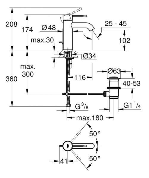 Rysunek techniczny baterii umywalkowej Grohe Essence 23589A01.-image_Grohe_23589A01_2