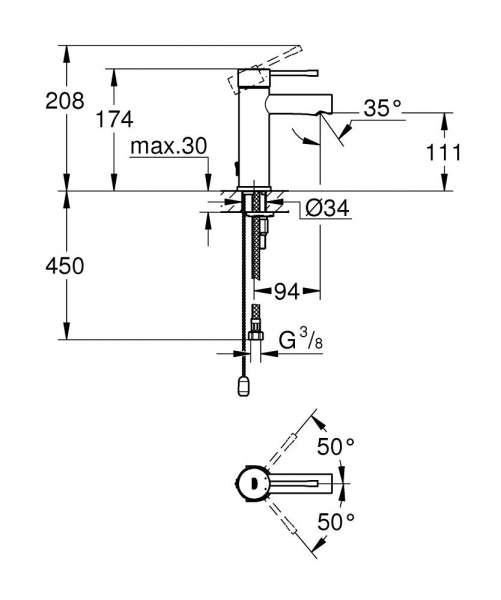 Wymiary techniczne baterii umywalkowej Essence 32 899 001.-image_Grohe_32899001_3
