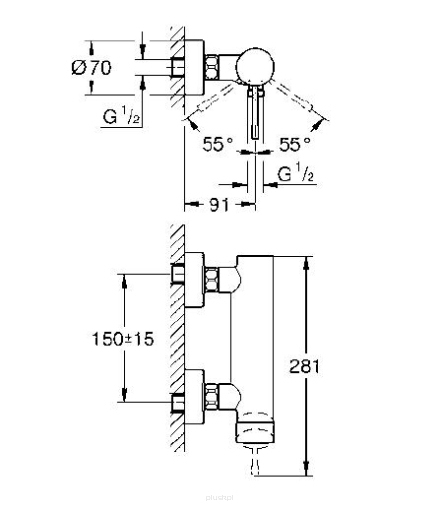 Rysunek techniczny baterii prysznicowej Grohe Essence 33636GL1-image_Grohe_33636GL1_3