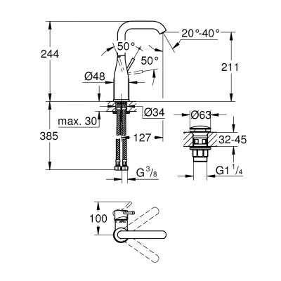 Wymiary techniczne baterii umywalkowej Grohe Essence 23799001-image_Grohe_23799001_3