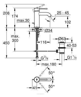 Rysunek techniczny baterii umywalkowej Grohe Essence 23589GN1-image_Grohe_23589GN1_2