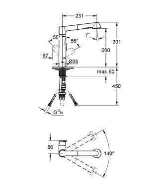 Wymiary techniczne baterii kuchennej Grohe K7 32176000-image_Grohe_32176000_4