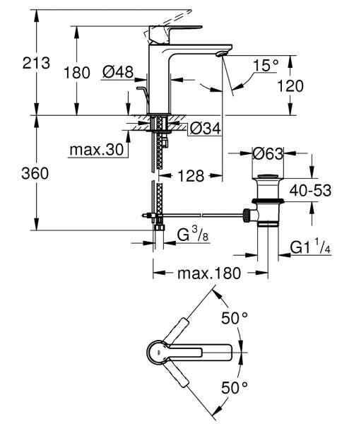 Dane techniczne baterii do umywalki Grohe Lineare w rozmiarze S -image_Grohe_32114DC1_2
