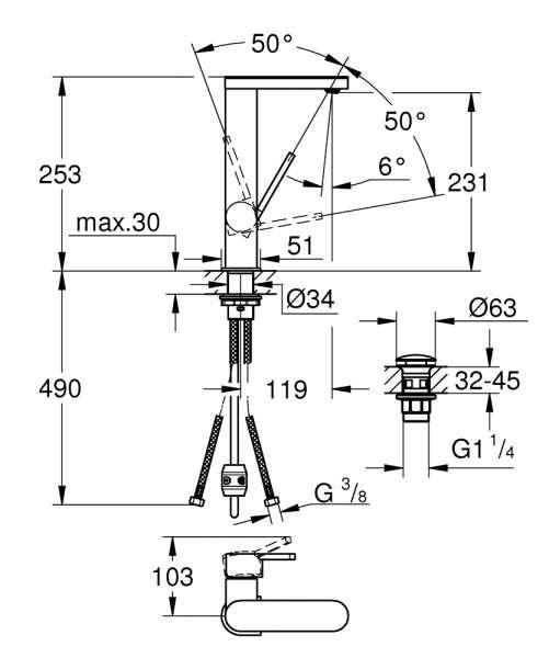Rysunek wymiarowy kranu umywalkowego Grohe Plus 23844003-image_Grohe_23844003_2