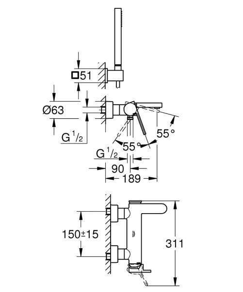Wymiary techniczne baterii wannowej PLus z kompletem natryskowym-image_Grohe_33547003_3