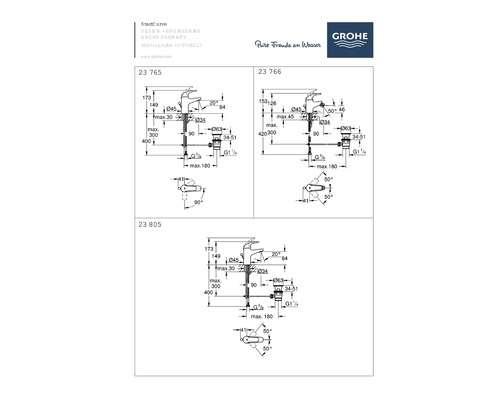 Wymiary techniczne baterii umywalkowej Grohe Start Curve-image_Grohe_33446001_1