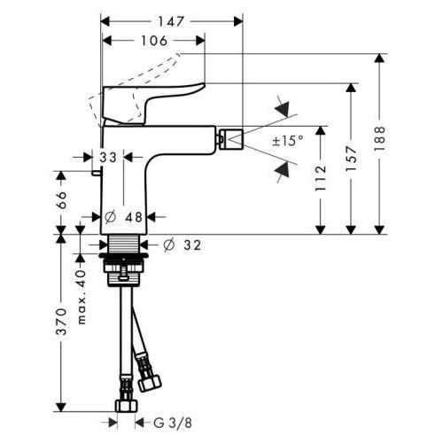 Wymiary techniczne baterii bidetowej Hansgrohe Metris E2 31280000 -image_Hansgrohe_31280000_5