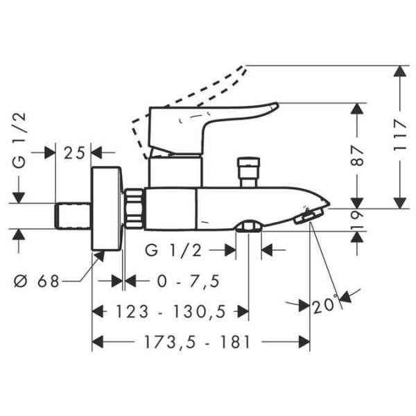 Wymiary baterii wannowej Hansgrohe Metris E2 31480000 -image_Hansgrohe_31480000_4