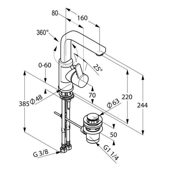 Rysunek techniczny baterii umywalkowej Kludi Zenta 420250575-image_Kludi_420250575_3
