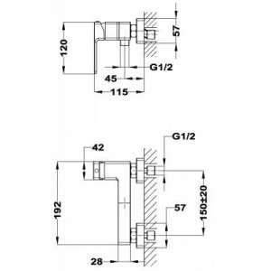 Wymiary techniczne baterii prysznicowej Teka Soller 852311200 -image_Teka_852311200_2