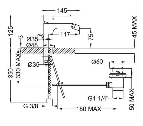 Dane techniczne baterii bidetowej Teorema XS 8x401BB-image_Teorema_8X401BB-009_2
