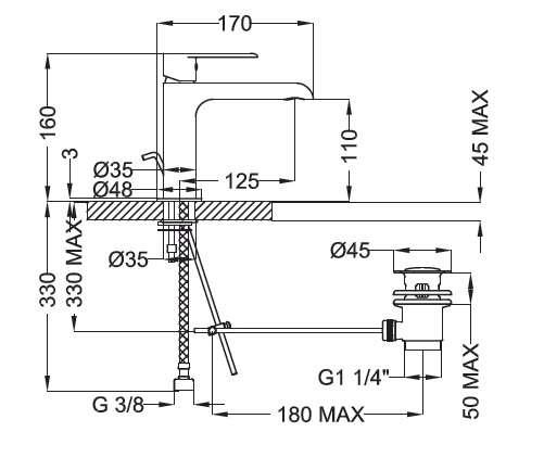 Wymiary techniczne baterii umywalkowej Teorema XS xx301BB-image_Teorema_8X301BB-009_2