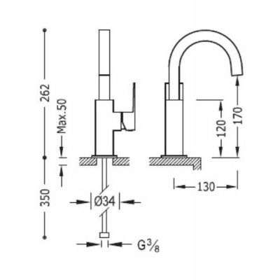 Wymiary techniczne baterii umywalkowej z obrotową wylewką Tres Cuadro czarny mat 00660502nmd-image_Tres baterie do kuchni i łazienki_006.605.02.NM.D_2