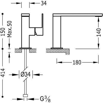 Wymiary baterii umywalkowej Tres Cuadro H150 biały mat do umywalki-image_Tres baterie do kuchni i łazienki_006.205.01.BM.D_2