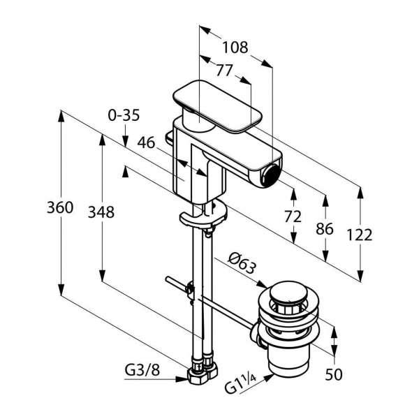 Rysunek techniczny baterii bidetowej Kludi E2-image_Kludi_492160575_3