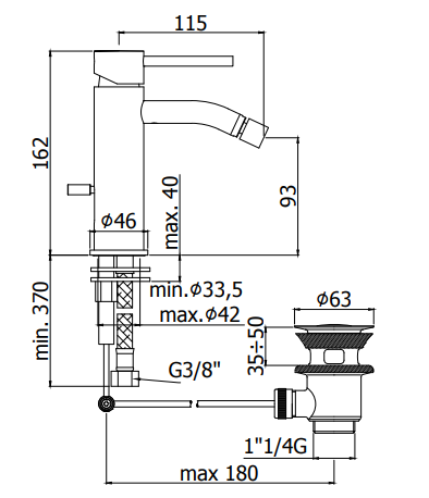 Wymiary baterii bidetowej Paffoni Light -image_Paffoni_LIG131CR_2