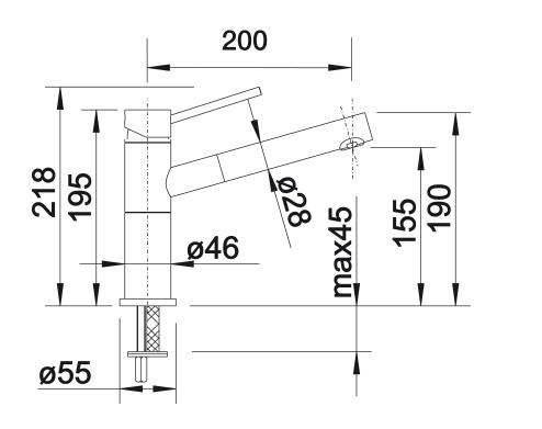 Wymiary techniczne podokiennej baterii zlewozmywakowej Blanco Alta-S-F Compact
