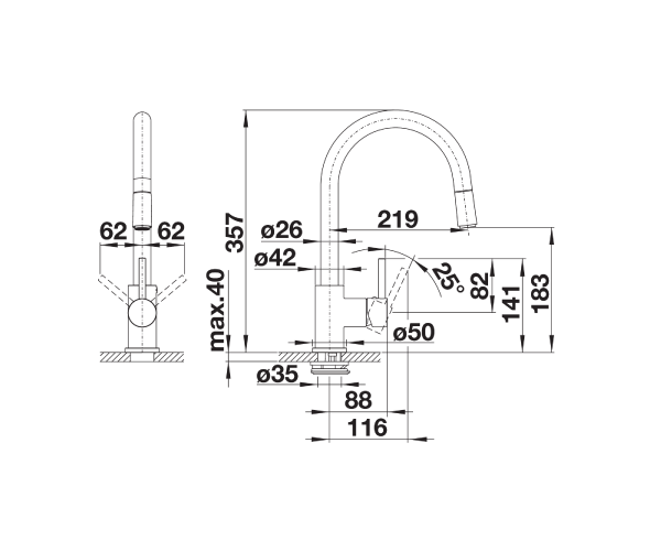 Wymiary techniczne baterii kuchennej Blanco Spirit S 516526