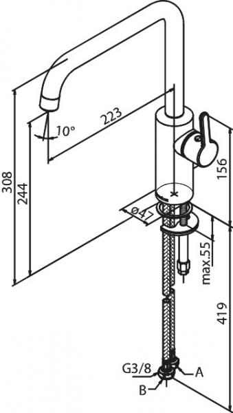 Dane techniczne baterii kuchennej Damixa 7408661-image_Damixa_740866100_2