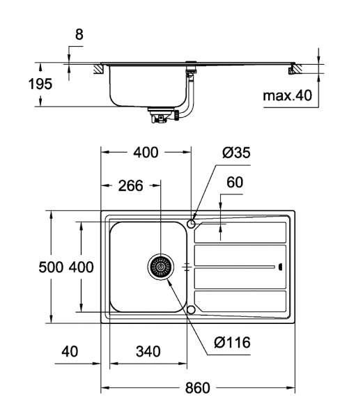 Wymiary techniczne zlewozmywaka K500-image_Grohe_31573SD0_2