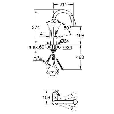 Rysunek techniczny baterii Zedra 32294 001-image_Grohe_32294001_3
