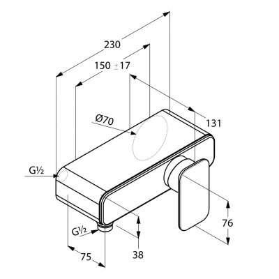 Rysunek techniczny baterii prysznicowej E2 497140575-image_Kludi_497140575_3