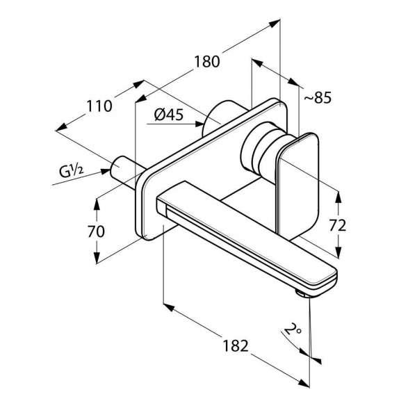 Rysunek techniczny baterii umywalkowej podtynkowej Kludi E2 49244 0575 -image_Kludi_492440575_4