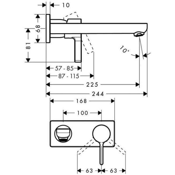 Wymiary techniczne baterii umywalkowej Metris S Hansgrohe 31163000  -image_Hansgrohe_31163000_3