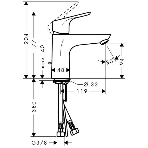 Wymiary techniczne baterii umywalkowej Hansgrohe Focus E2 31607000-image_Hansgrohe_31607000_5