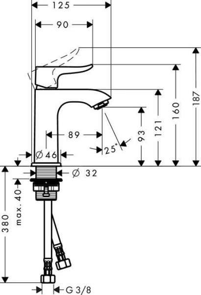 Wymiary techniczne baterii umywalkowej Hansgrohe Metris E2 100 31186000 -image_Hansgrohe_31186000_4