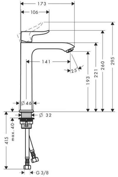 Wymiary techniczne baterii umywalkowej Hansgrohe Metris 200 31185000-image_Hansgrohe_31185000_3