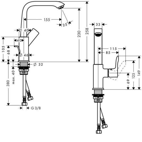 Wymiary techniczne baterii umywalkowej Hansgrohe Metris 230 31087000 -image_Hansgrohe_31087000 _7