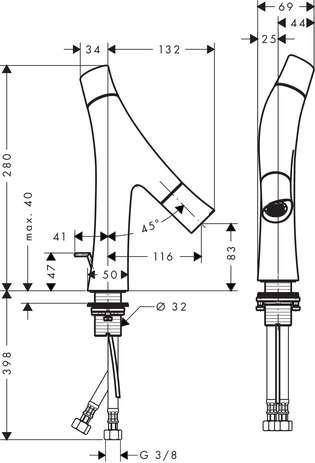 Wymiary techniczne baterii umywalkowej Hansgrohe Axor Strack Organic 12010000-image_Hansgrohe_12010000_3