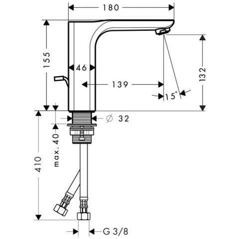 Rysunek techniczny baterii Hansgrohe Axor Urquiola 11020000-image_Hansgrohe_11020000_3